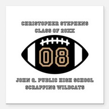 "Custom Football Player N Square Car Magnet 3"" x 3"""
