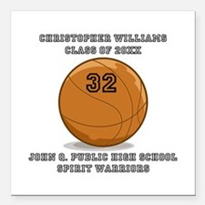 "Custom Basketball Player Square Car Magnet 3"" x 3"""