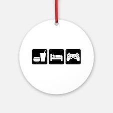 Eat Sleep Game Round Ornament