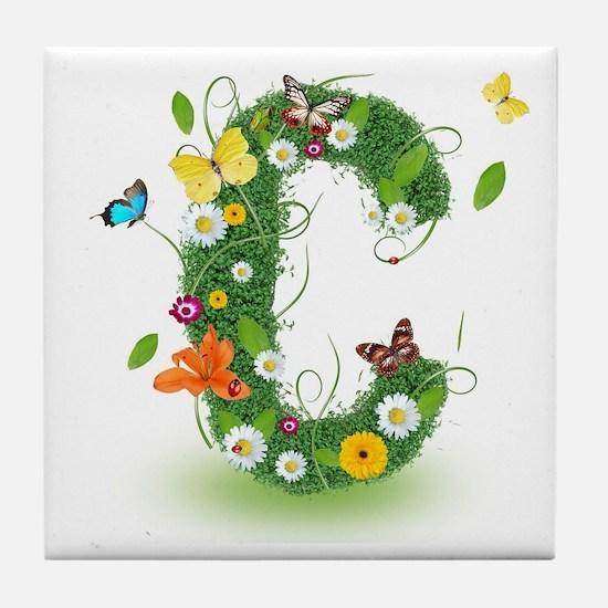 Monogram Letter C Tile Coaster
