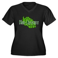 Hop Addict Women's Plus Size V-Neck Dark T-Shirt