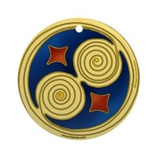 Irish Spiral Design Ornament (Round)