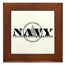 Navy - I Support My Grandson Framed Tile