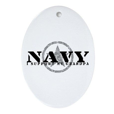 Navy - I Support My Grandpa Oval Ornament