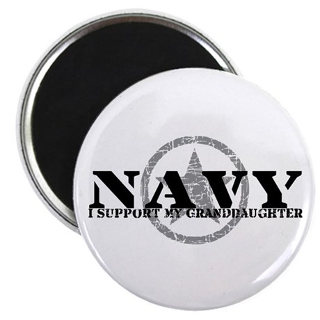 Navy - I Support My Granddaughter Magnet