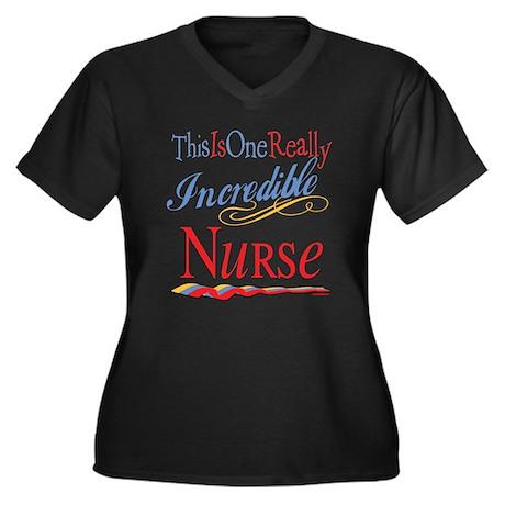 Incredible Nurse Women's Plus Size V-Neck Dark T-S