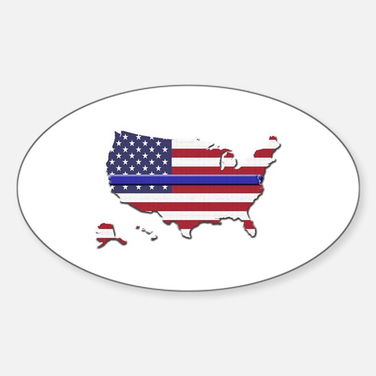 Thin Blue Line US Flag Decal