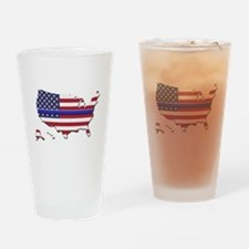 Thin Blue Line US Flag Drinking Glass