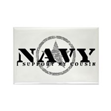 Navy - I Support My Cousin Rectangle Magnet