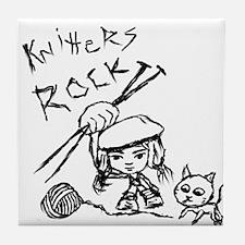 Knitters Rock! Tile Coaster
