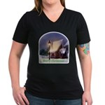 Snowy Cabin Women's V-Neck Dark T-Shirt
