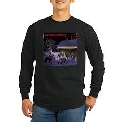 Santa's Coming! Long Sleeve Dark T-Shirt