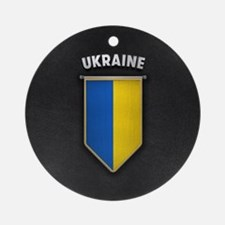Ukraine Pennant with high quality l Round Ornament