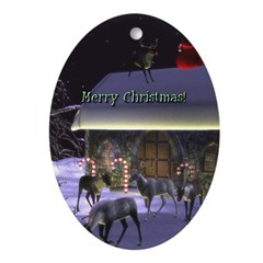 Santa's Coming! Oval Ornament