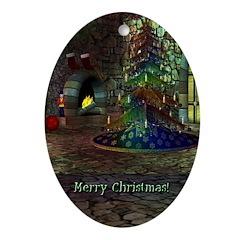 I Love Christmas Oval Ornament
