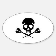 Darts skull Sticker (Oval)