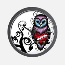 Whimsical Owl with Heart Wall Clock