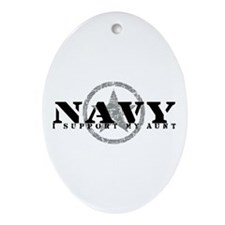 Navy - I Support My Aunt Oval Ornament