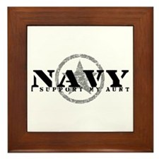 Navy - I Support My Aunt Framed Tile