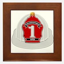 Traditional Fire Department Helmet Framed Tile