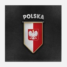 Poland Pennant with high quality leat Tile Coaster