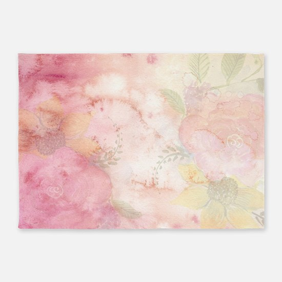 Watercolor Pink Floral Background 5'x7'Area Rug