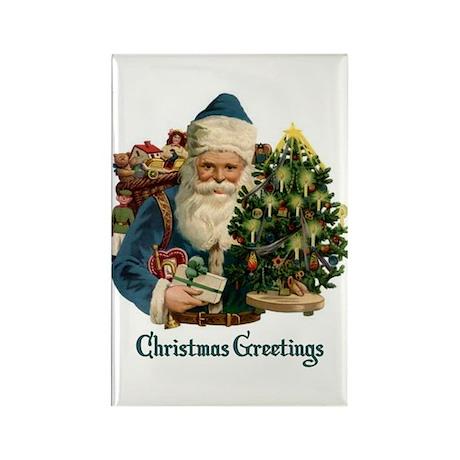 Christmas Greetings Santa Rectangle Magnet