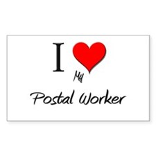I Love My Postal Worker Rectangle Decal