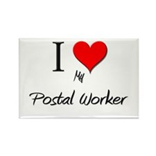 I Love My Postal Worker Rectangle Magnet (10 pack)