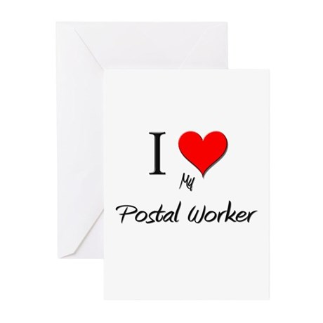 I Love My Postal Worker Greeting Cards (Pk of 10)