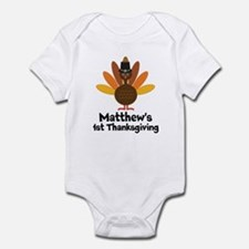 1st Thanksgiving Personalized turkey Body Suit
