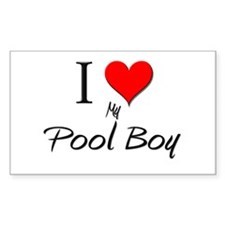 I Love My Pool Boy Rectangle Decal