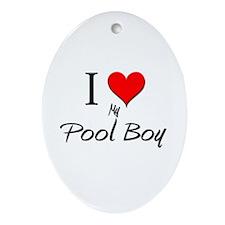 I Love My Pool Boy Oval Ornament