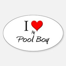I Love My Pool Boy Oval Decal