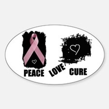 PEACE LOVE CURE Oval Decal