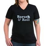 Barack & Roll Women's V-Neck Dark T-Shirt