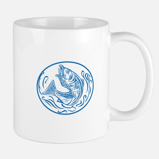 Rockfish Jumping Up Oval Drawing Mugs