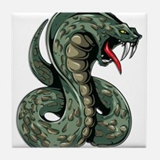 Striking Green Cobra Tile Coaster