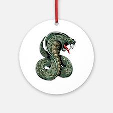 Striking Green Cobra Round Ornament