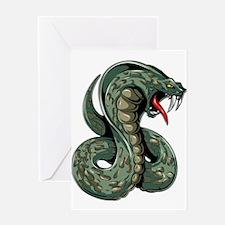 Striking Green Cobra Greeting Cards