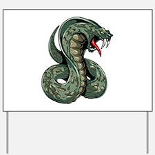 Striking Green Cobra Yard Sign