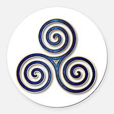 Celtic Triple Spiral in Deep Blue Round Car Magnet