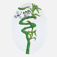 frog in bamboo Oval Ornament