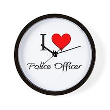 I Love My Police Officer Wall Clock