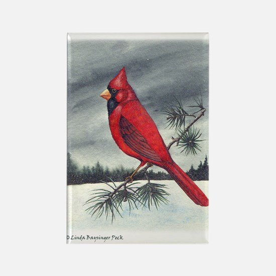 Cardinal on Pine Rectangle Magnet