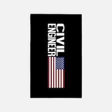 Careers: Civil Engineer (U.S. Flag) Area Rug