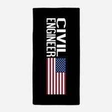 Careers: Civil Engineer (U.S. Flag) Beach Towel
