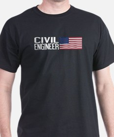 Careers: Civil Engineer (U.S. Flag) T-Shirt