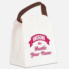 Awesome Like Auntie Pink Canvas Lunch Bag