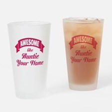 Awesome Like Auntie Pink Drinking Glass